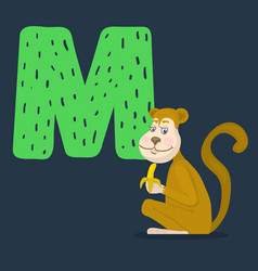 Monkey character with letter m vector