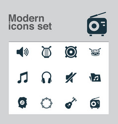 multimedia icons set with mute tambourine volume vector image