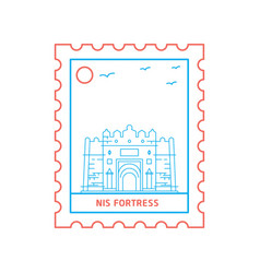 nis fortress postage stamp blue and red line style vector image