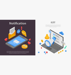 Notification banner set isometric style vector