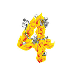 Number 4 hellish flames and sinners font fiery vector