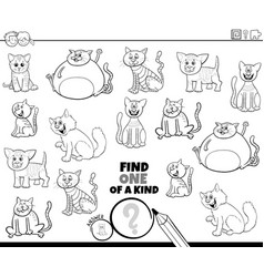 One a kind game with comic cats color book page vector