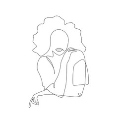 One continuous line drawing abstract woman vector