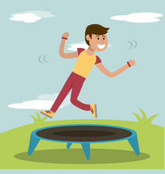 Physical education - boy training jumping vector