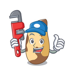 Plumber brazil nut mascot cartoon vector