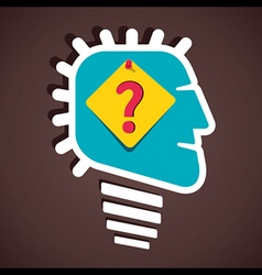 push pin question mark bulb shape face vector image
