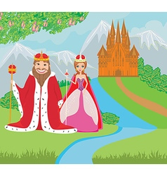 queen and king are in front of the castle vector image