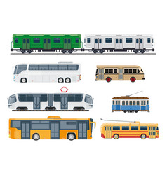 railroad trains and streetcars public vector image