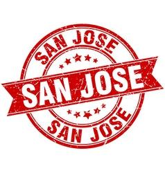 San Jose red round grunge vintage ribbon stamp vector
