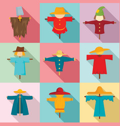 Scarecrow icons set flat style vector