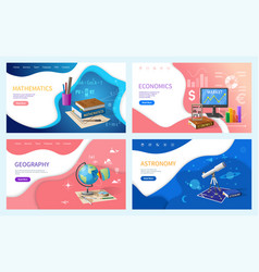 School or college subjects stationery and books vector