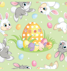 seamless pattern easter bunnies and big egg vector image