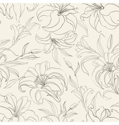 Seamless pattern with blooming lilies vector image