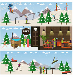 Set of winter fun posters banners in flat vector