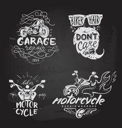 set vintage motorcycle emblems labels badges vector image