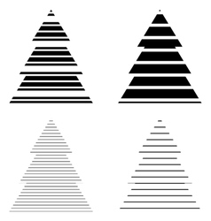 Simple Black Christmas Tree Icon Set vector
