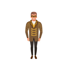 Smiling man in steampunk costume guy in jacket vector