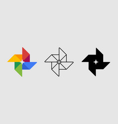 social media icon set for google photos in vector image