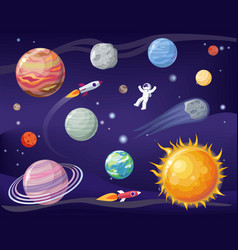 Space and planets set poster vector