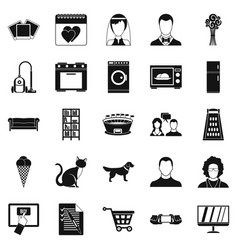 Sup icons set simple style vector
