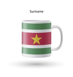 Suriname flag souvenir mug on white background vector