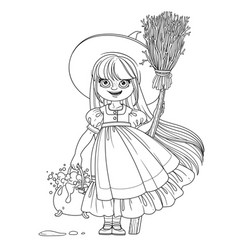 Sweet girl in witch costume holds a broom for vector