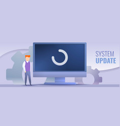 system update concept banner cartoon style vector image