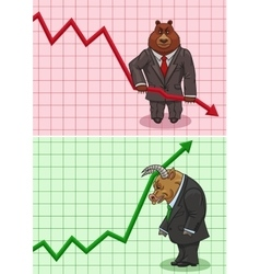 The actions of bear and bull on the stock exchange vector image