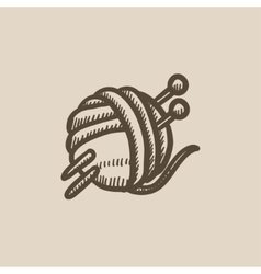 Threads for knitting with spokes sketch icon vector image