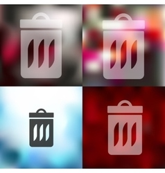 trash can icon on blurred background vector image