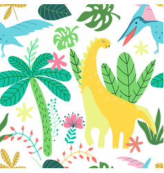 trendy collection with colorful dinosaurs pattern vector image