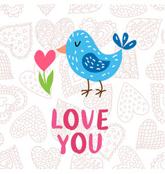 valentine s day greeting card with bird vector image