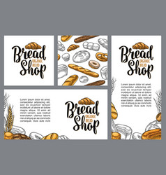 Vertical poster with bread color hand vector