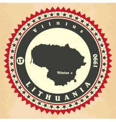Vintage label-sticker cards of lithuania vector