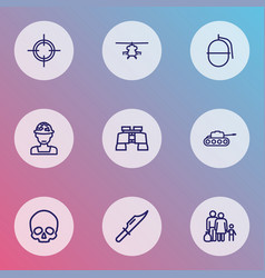 warfare icons line style set with knife vector image