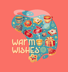 warm wishes christmas badge with greeting vector image