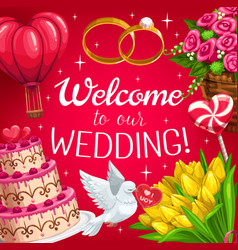 Wedding cake red hearts bride and groom rings vector