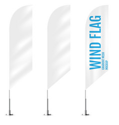 White textile wind banner flags banner wind flag vector