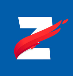 Z letter logo with fast speed red bird wing vector