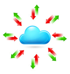 cloud with arrows on white background vector image vector image