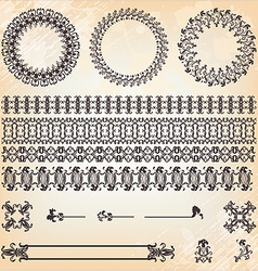 collection of vintage floral pattern elements vector image vector image