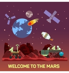 flat of Mars colony with vector image vector image