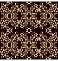 Horizontal yellow on brown ornamental seamless vector image