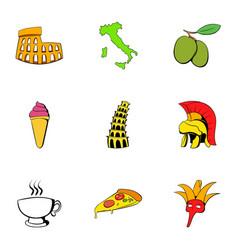 italians icons set cartoon style vector image vector image