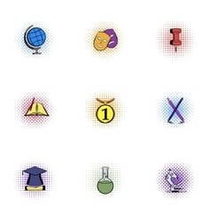 Learning in school icons set pop-art style vector image vector image