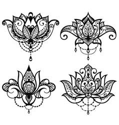 lotus tattoo set vector image vector image