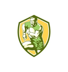 Rugby Player Running Goose Steps Shield Retro vector image vector image