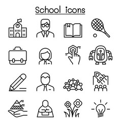 school education learning icon set in thin line vector image vector image