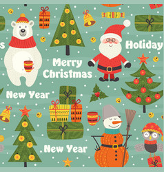 seamless pattern with christmas characters vector image vector image