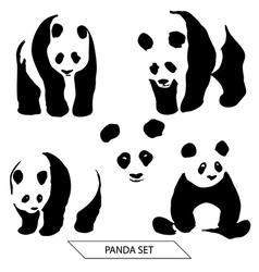 Set of Panda silhouettes vector image